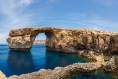 Azure Window, stone arch of Gozo, Malta. Azure Window, famous stone arch of Gozo island in the sun in summer, Malta Royalty Free Stock Photos