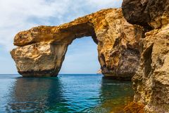Azure Window, stone arch of Gozo, Malta Royalty Free Stock Photo