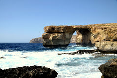 Azure Window. The Azure Window was a 28-metre-tall 92 ft limestone natural arch on the island of Gozo in Malta Stock Photos