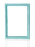 Azure wooden frame for pictures or the photos. Isolated on white stock illustration