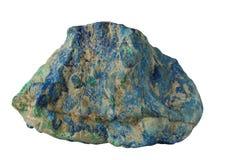 Azurite azul profundo con el mineral verde de la malaquita aislado foto de archivo