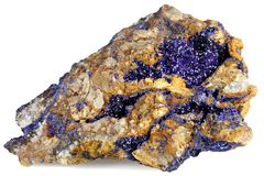 Azurite. Found in Morocco isolated on white background stock photo