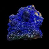 Azurite. Azurite proceeding of Morocco. Isolated in black background royalty free stock photography