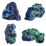 Azurite. Blue Azurite gemstones set isolated on white background royalty free stock photo