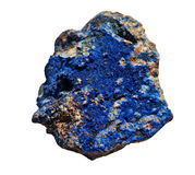 Azurite Cobalt Blue Stone Isolated on White Stock Image
