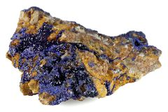 Azurite. Found in Morocco isolated on white background royalty free stock images