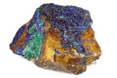 Azurite/ malachite. Found in Morocco isolated on white background royalty free stock photo