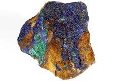 Azurite/ malachite. Found in Morocco isolated on white background stock photos