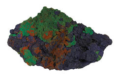 Azurite and malachite are weathered copper ores Royalty Free Stock Image