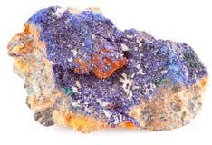 Azurite minérale bleue d'isolement image libre de droits