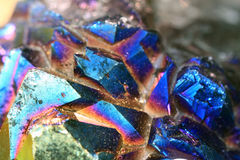 Azurite raw mineral crystal. Azurite is a dark transparent to translucent stone and has a glassy luster royalty free stock image