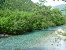 Azusa flod i Kamikochi Fotografering för Bildbyråer