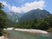 Azusa river and Hotaka mountains in Kamikochi, Nagano, Japan Royalty Free Stock Photography