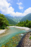 Azusa river and Hotaka mountains in Kamikochi, Nagano, Japan Stock Images
