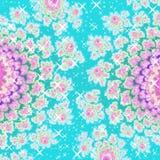 Azuurblauw blauw en roze het gloeien twee grafisch bloemenbeeld royalty-vrije illustratie