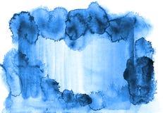 Azuurblauw blauw waterverfkader op een wit canvas van een document textuur stock illustratie