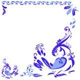 Azuurblauw kader met vogels royalty-vrije illustratie