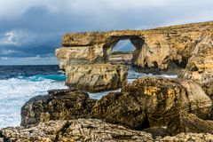 Azuurblauw Venster, Gozo, Malta Stock Afbeelding