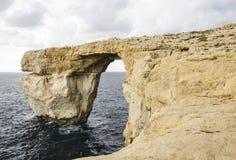 Azuurblauw Venster, Malta Stock Foto's