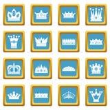Azuurblauwe kroonpictogrammen royalty-vrije illustratie