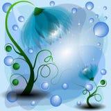 Azuurblauwe mum en babybloemen Stock Afbeeldingen