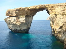 Azzure Window. Beautiful landscape of the Azzure Window, a limestone natural arch on the island of Gozo, Malta. It was Malta`s top attraction and has appeared in royalty free stock image