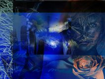 Azzurro astratto di Grunge Fotografie Stock