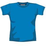Azzurro in bianco della maglietta Immagini Stock