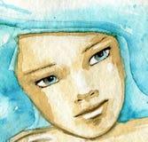 Azzurro blu della ragazza della donna? illustrazione di stock