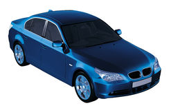 azzurro del bmw 5 serie Immagine Stock Libera da Diritti
