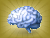 Azzurro del cervello umano Immagini Stock