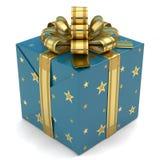 Azzurro del contenitore di regalo con le stelle Fotografia Stock