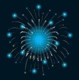 Azzurro del fuoco d'artificio di nuovo anno Fotografia Stock Libera da Diritti