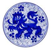 Azzurro del piatto di ceramica Immagini Stock Libere da Diritti