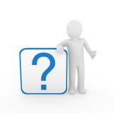 azzurro del punto interrogativo dell'uomo 3d Fotografia Stock Libera da Diritti