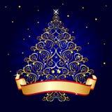 Azzurro dell'albero di Natale Fotografia Stock