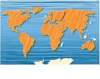 Azzurro dell'atlante di mondo Immagini Stock