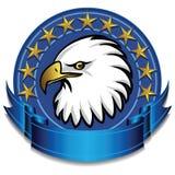Azzurro della bandiera dell'aquila Fotografia Stock