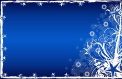 Azzurro della cartolina di Natale con le stelle ed i fiocchi di neve Fotografie Stock