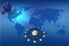 Azzurro della moneta commerciale della priorità bassa dell'europeo euro Fotografie Stock