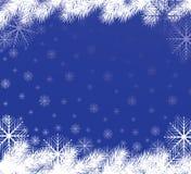Azzurro della priorità bassa dei fiocchi di neve Immagine Stock