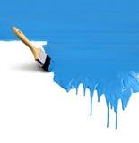 Azzurro della sgocciolatura della pittura del pennello Fotografia Stock Libera da Diritti