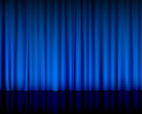 Azzurro della tenda del teatro illustrazione di stock