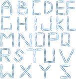 Azzurro di alfabeto della clip di carta Fotografia Stock Libera da Diritti