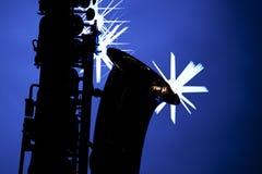Azzurro isolato siluetta del sassofono Fotografia Stock Libera da Diritti