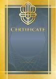 Azzurro/oro del certificato Immagini Stock