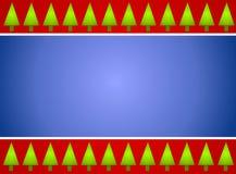 Azzurro rosso del bordo dell'albero di Natale illustrazione di stock