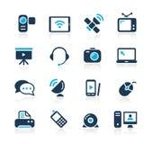 Azzurro Serie di // delle icone di comunicazione Fotografia Stock Libera da Diritti