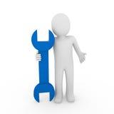 azzurro umano della chiave 3d Immagini Stock Libere da Diritti