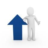 azzurro umano di successo della freccia 3d Immagini Stock